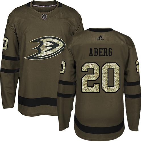 Ducks #20 Pontus Aberg Green Salute to Service Stitched Hockey Jersey