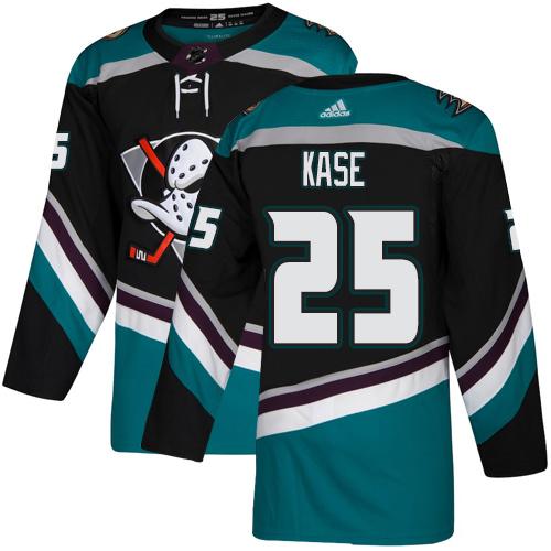 Ducks #25 Ondrej Kase Black Teal Alternate Authentic Stitched Hockey Jersey