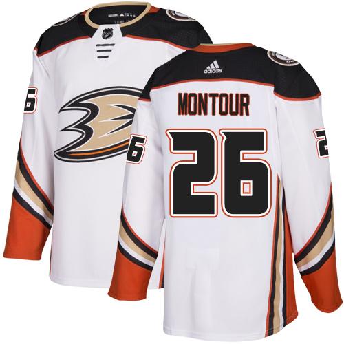 Ducks #26 Brandon Montour White Road Authentic Stitched Hockey Jersey