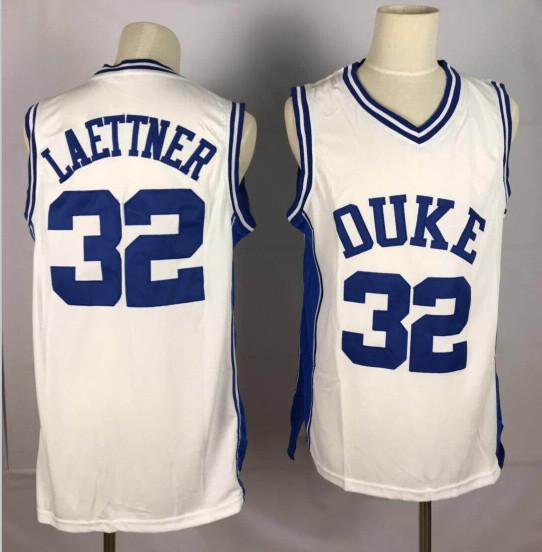 Duke Blue Devils 32 Christian Laettner White College Basketball Jersey