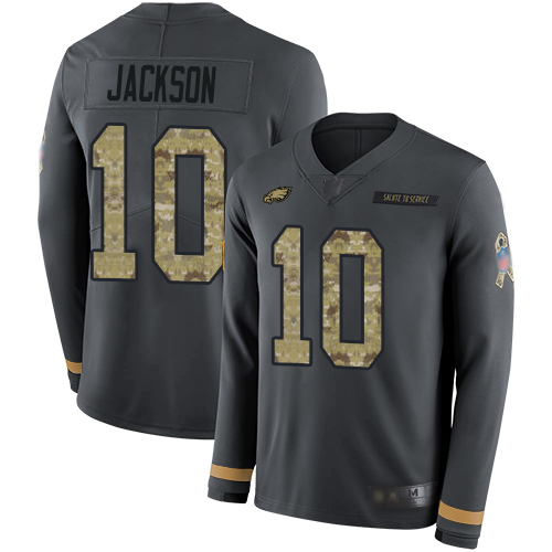 Eagles #10 DeSean Jackson Anthracite Salute to Service Men's Stitched Football Limited Therma Long Sleeve Jersey