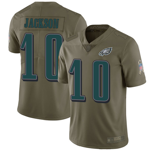 Eagles #10 DeSean Jackson Olive Men's Stitched Football Limited 2017 Salute To Service Jersey
