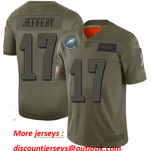 Eagles #17 Alshon Jeffery Camo Youth Stitched Football Limited 2019 Salute to Service Jersey