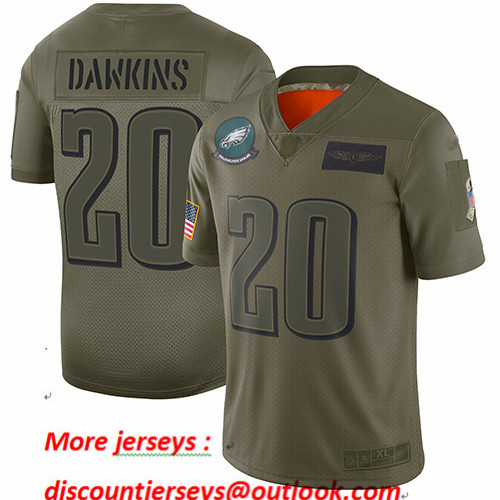 Eagles #20 Brian Dawkins Camo Youth Stitched Football Limited 2019 Salute to Service Jersey