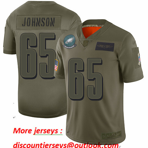 Eagles #65 Lane Johnson Camo Youth Stitched Football Limited 2019 Salute to Service Jersey