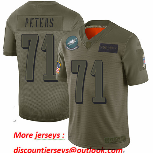 Eagles #71 Jason Peters Camo Youth Stitched Football Limited 2019 Salute to Service Jersey