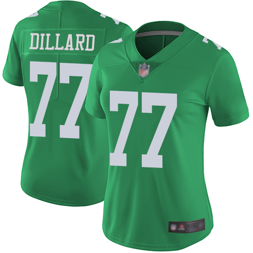 Eagles #77 Andre Dillard Green Women's Stitched Football Limited Rush Jersey