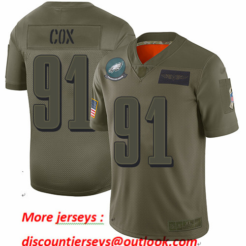 Eagles #91 Fletcher Cox Camo Youth Stitched Football Limited 2019 Salute to Service Jersey