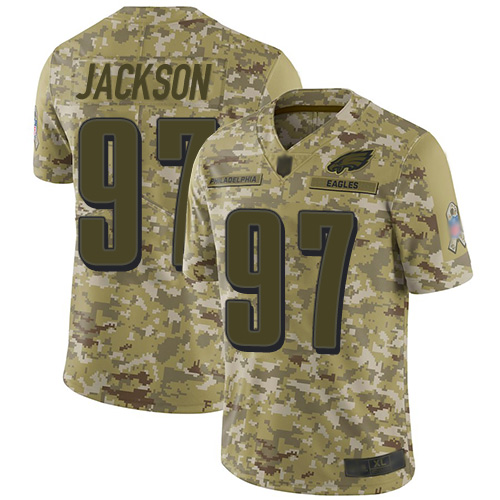 Eagles #97 Malik Jackson Camo Youth Stitched Football Limited 2018 Salute to Service Jersey