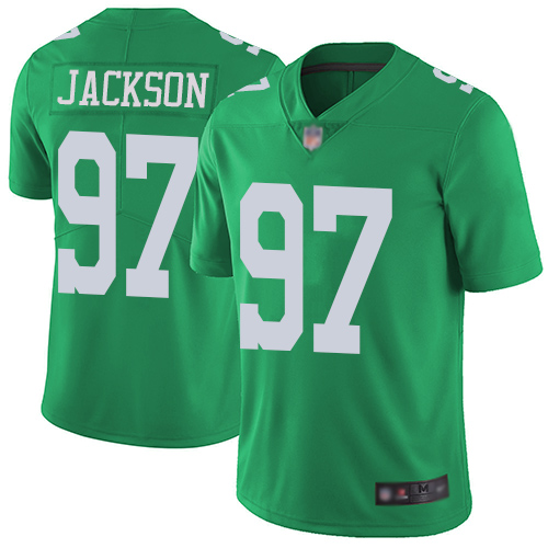 Eagles #97 Malik Jackson Green Men's Stitched Football Limited Rush Jersey