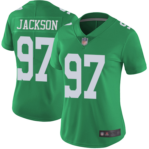 Eagles #97 Malik Jackson Green Women's Stitched Football Limited Rush Jersey