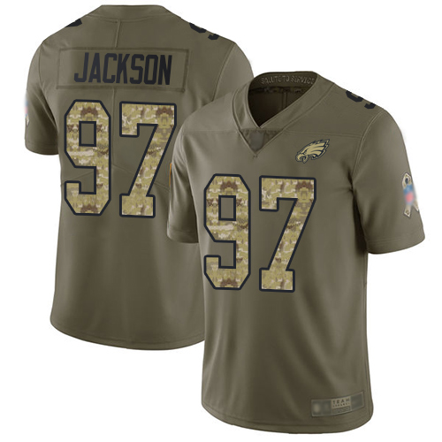 Eagles #97 Malik Jackson Olive Camo Youth Stitched Football Limited 2017 Salute to Service Jersey
