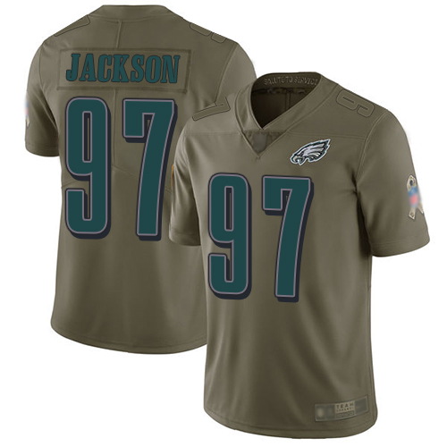 Eagles #97 Malik Jackson Olive Youth Stitched Football Limited 2017 Salute to Service Jersey