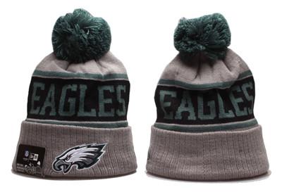 Eagles Team Logo Gray Pom Knit Hat YP