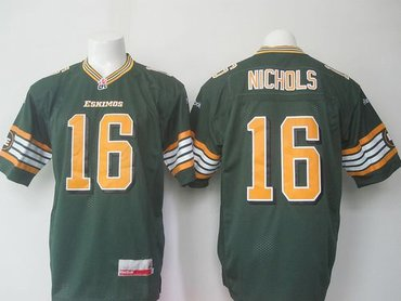 Edmonton Eskimos #16 Matt Nichols Green Stitched CFL Jersey