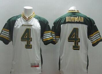 Edmonton Eskimos #4 Adarius Bowman White Stitched CFL Jersey
