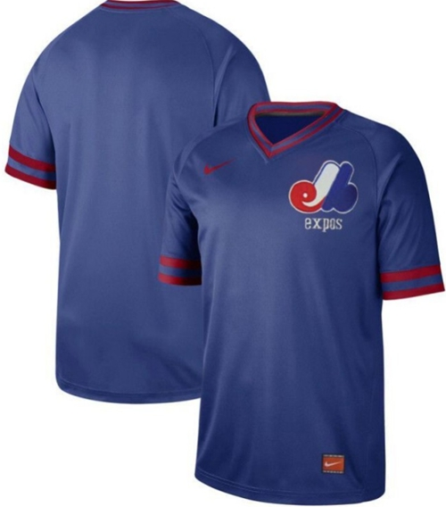 Expos Blank Royal Authentic Cooperstown Collection Stitched Baseball Jersey