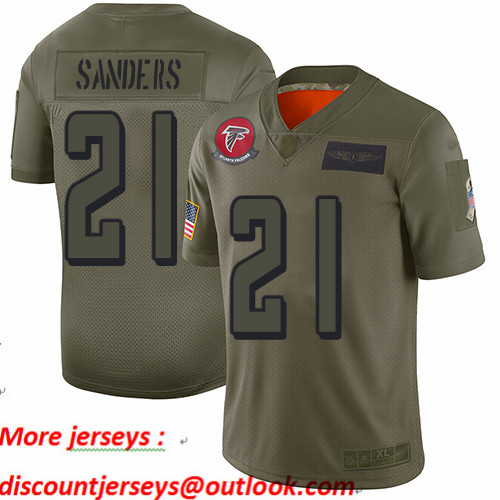 Falcons #21 Deion Sanders Camo Youth Stitched Football Limited 2019 Salute to Service Jersey