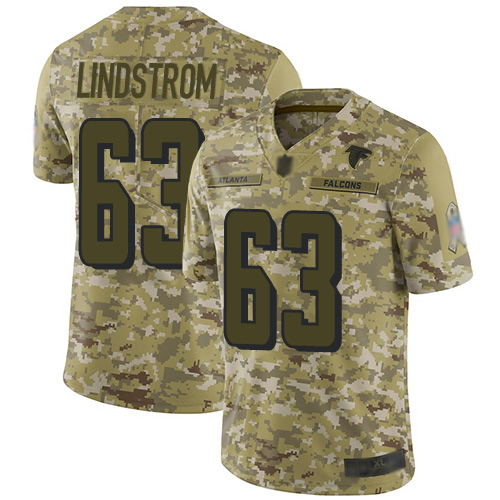 Falcons #63 Chris Lindstrom Camo Men's Stitched Football Limited 2018 Salute To Service Jersey