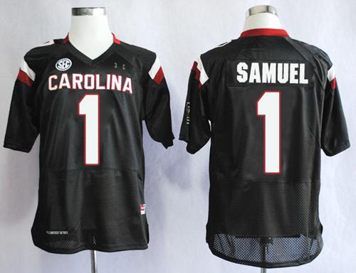 Fighting Gamecocks #1 Deebo Samuel Black SEC Patch Stitched NCAA Jersey