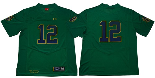 Fighting Irish #12 Ian Book Green Limited Stitched NCAA Jersey