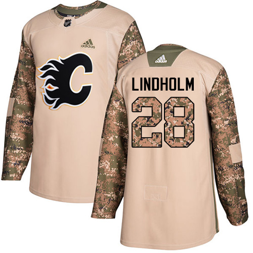 Flames #28 Elias Lindholm Camo Authentic 2017 Veterans Day Stitched Hockey Jersey