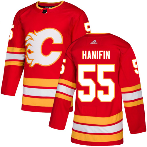 Flames #55 Noah Hanifin Red Alternate Authentic Stitched Hockey Jersey