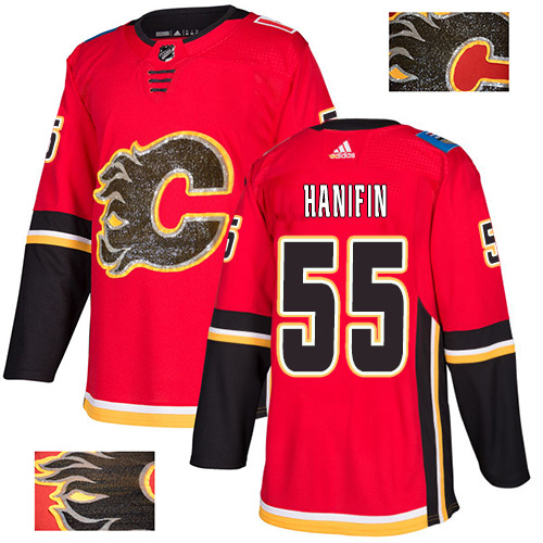 Flames #55 Noah Hanifin Red Home Authentic Fashion Gold Stitched Hockey Jersey