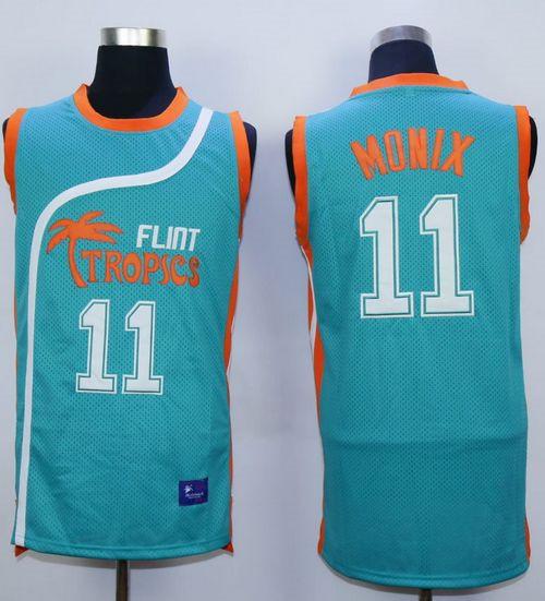 Flint Tropics #11 Ed Monix Blue Semi-Pro Movie Stitched Basketball Jersey