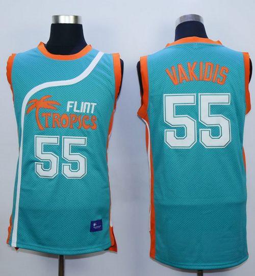 Flint Tropics #55 Vakidis Blue Semi-Pro Movie Stitched Basketball Jersey