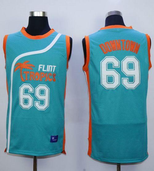 Flint Tropics #69 Downtown Blue Semi-Pro Movie Stitched Basketball Jersey