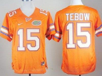 Florida Gators 15 Tim Tebow Orange College Football NCAA Jersey