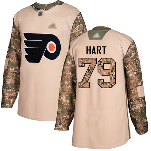 Flyers #79 Carter Hart Camo Authentic 2017 Veterans Day Stitched Youth Hockey Jersey
