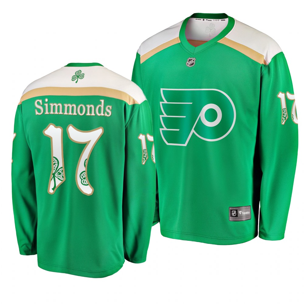 Flyers 17 Wayne Simmonds Green 2019 St. Patrick's Day Adidas Jersey