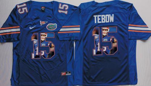 Gators #15 Tim Tebow Blue Player Fashion Stitched NCAA Jersey