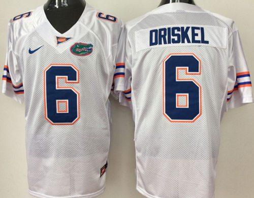 Gators #6 Jeff Driskel White Stitched NCAA Jersey