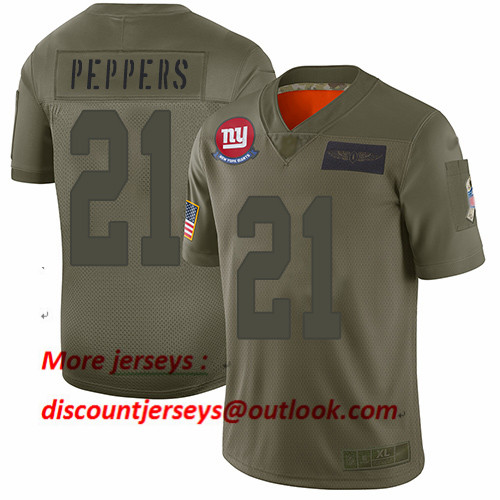 Giants #21 Jabrill Peppers Camo Men's Stitched Football Limited 2019 Salute To Service Jersey