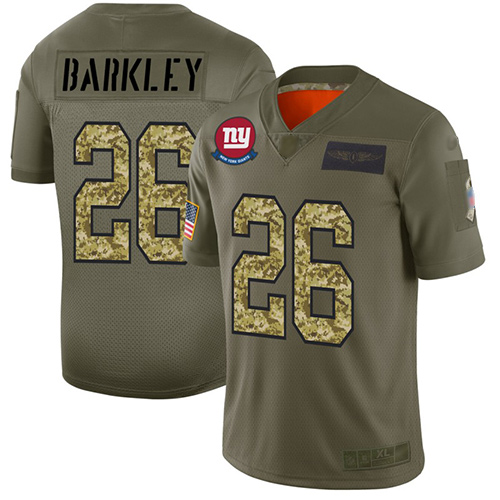 Giants #26 Saquon Barkley Olive Camo Men's Stitched Football Limited 2019 Salute To Service Jersey