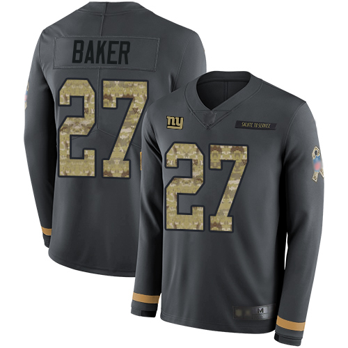 Giants #27 Deandre Baker Anthracite Salute to Service Men's Stitched Football Limited Therma Long Sleeve Jersey