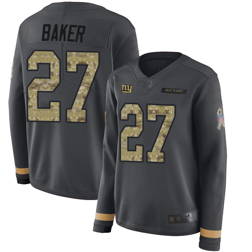 Giants #27 Deandre Baker Anthracite Salute to Service Women's Stitched Football Limited Therma Long Sleeve Jersey