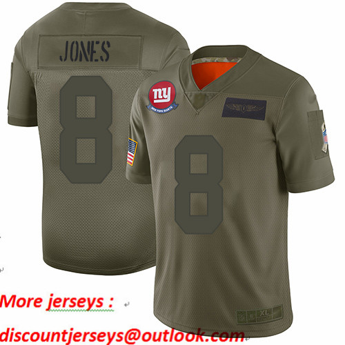 Giants #8 Daniel Jones Camo Youth Stitched Football Limited 2019 Salute to Service Jersey