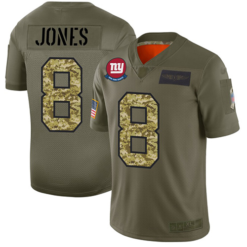 Giants #8 Daniel Jones Olive Camo Men's Stitched Football Limited 2019 Salute To Service Jersey