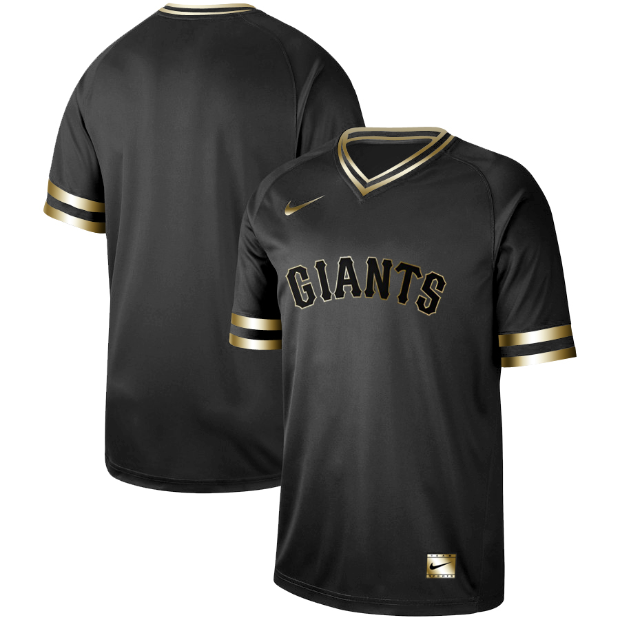 Giants Blank Black Gold Nike Cooperstown Collection Legend V Neck Jersey