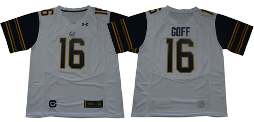 Golden Bears #16 Jared Goff White Under Armour Premier Stitched NCAA Jersey