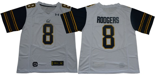 Golden Bears #8 Aaron Rodgers White Under Armour Premier Stitched NCAA Jersey
