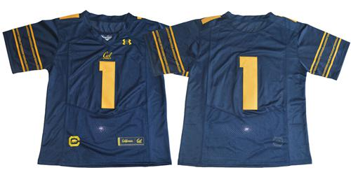 Golden Bears No.1 Fans Navy Blue Under Armour Premier Stitched NCAA Jersey