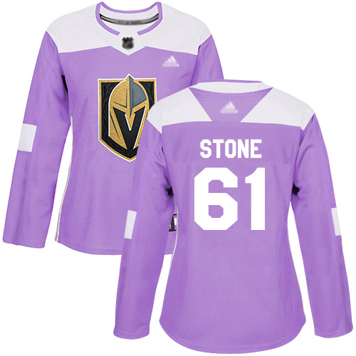 Golden Knights #61 Mark Stone Purple Authentic Fights Cancer Women's Stitched Hockey Jersey