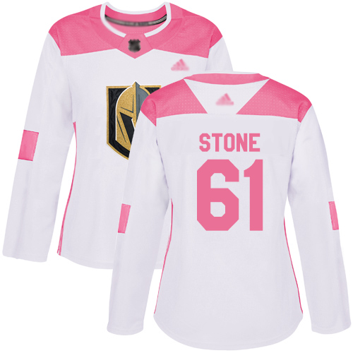 Golden Knights #61 Mark Stone White Pink Authentic Fashion Women's Stitched Hockey Jersey