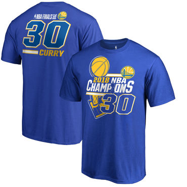 Golden State Warriors 30 Stephen Curry Fanatics Branded 2018 NBA Finals Champions Name And Number T-Shirt Royal