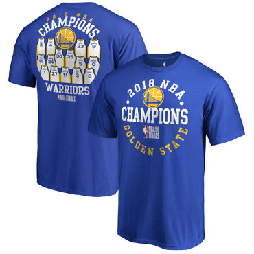 Golden State Warriors Fanatics Branded 2018 NBA Finals Champions Elevate The Game Jersey Roster T-Shirt Royal